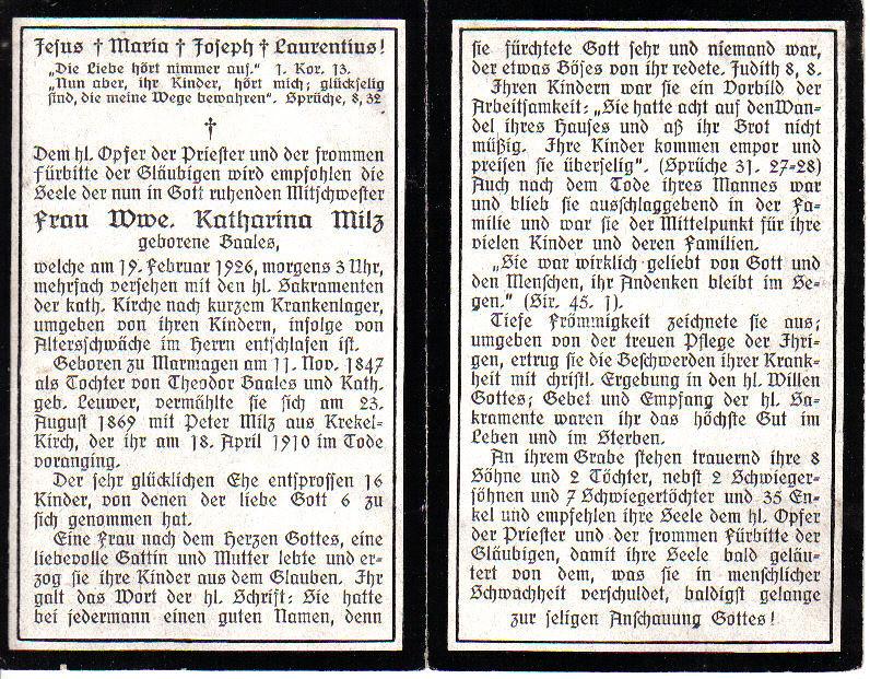 Totenzettel Baales, Katharina † 19.02.1926