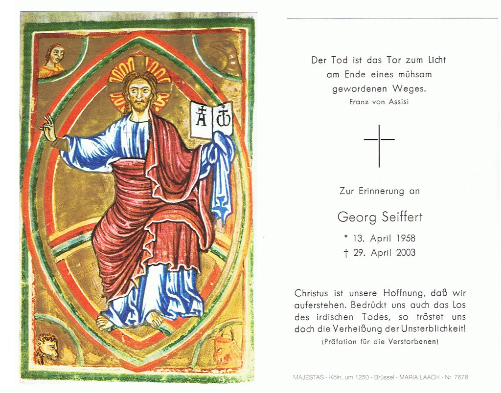 Totenzettel Seiffert, Georg † 29.04.2003