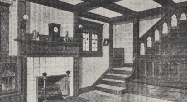 Typical Living Room And Stairs With Wood Finishing 1918