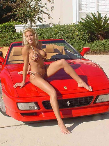 ferrari 348 spyder and sexy girl in a bikini red ferrari 3