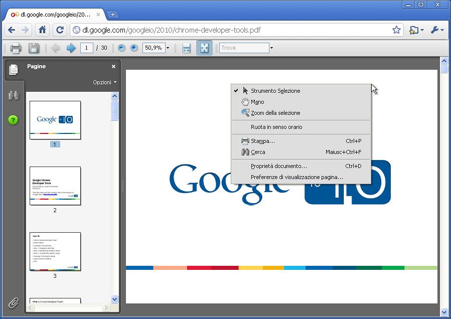 Google Chrome - plugin PDF di Adobe (menù) | Nicola D