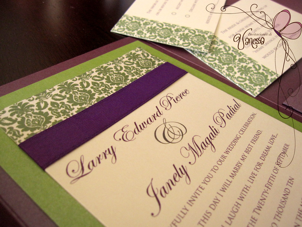 White And Green Wedding Invitations: Purple And Green Wedding Invitation