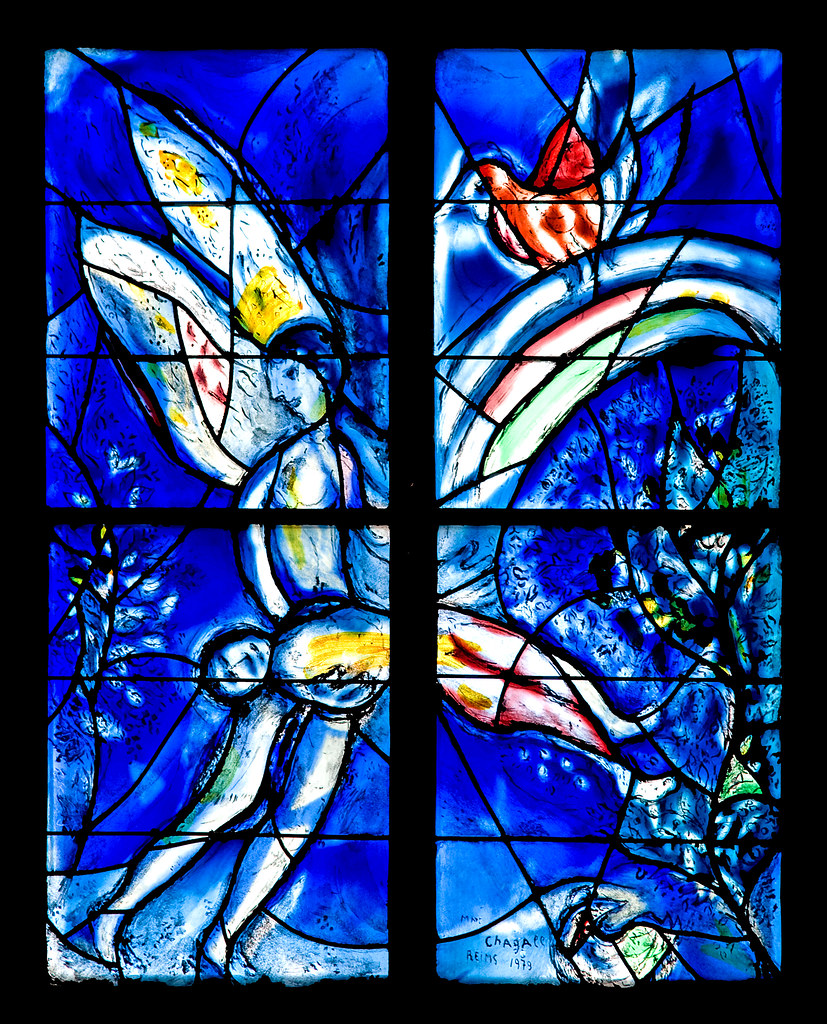 Stained Glass Angel | Stained glass window by Marc Chagall ... Chagall Mainz