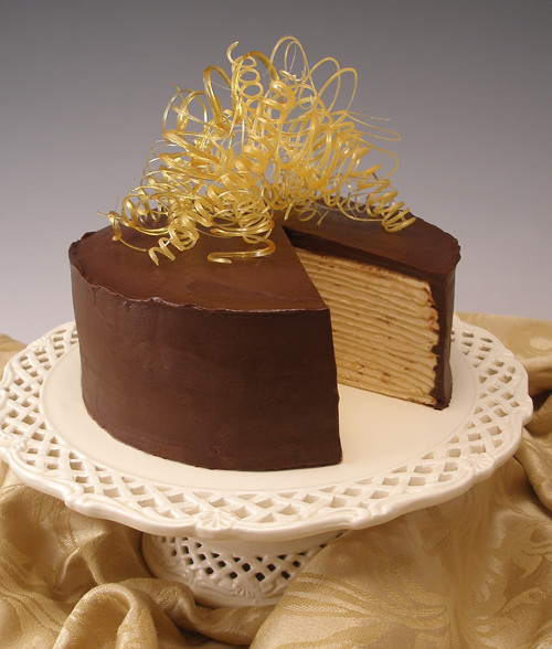 Chocolate Caramel Mille Crepes Cake