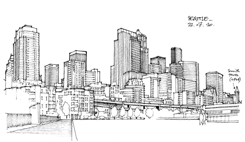 Seattle Skyline Drawing Seattle Skyline | by
