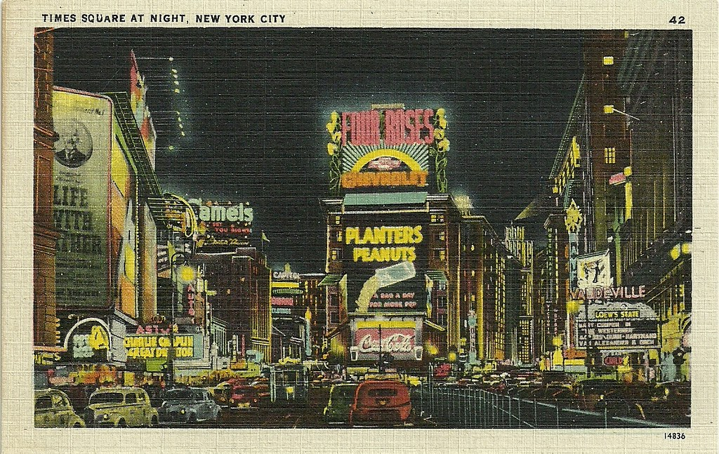 Times Square At Night New York City C 1940 1941 Flickr