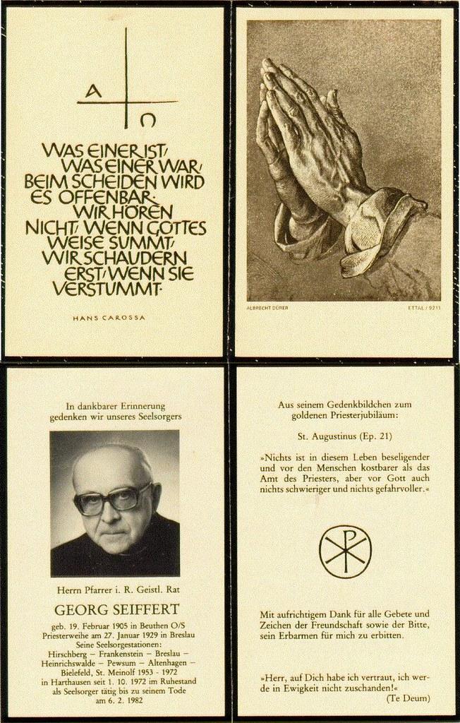 Totenzettel Seiffert, Georg † 06.02.1982