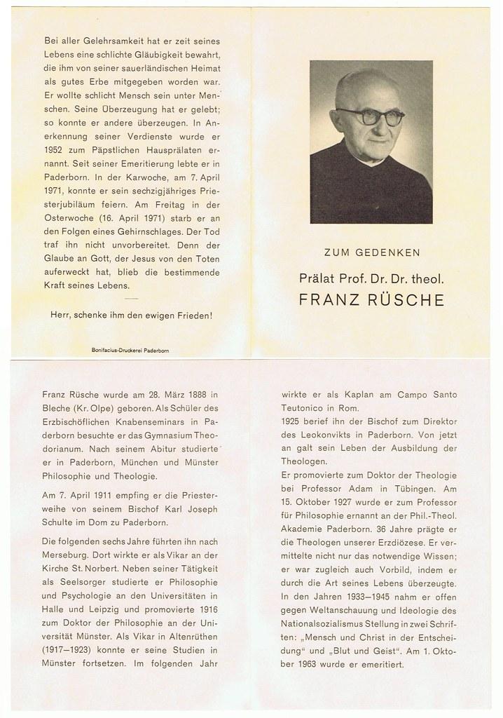 Totenzettel Rüsche, Franz Prälat, Prof Theol † 16.04.1971