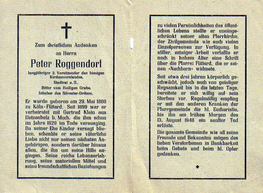 Totenzettel Roggendorf, Peter † 13.08.1948