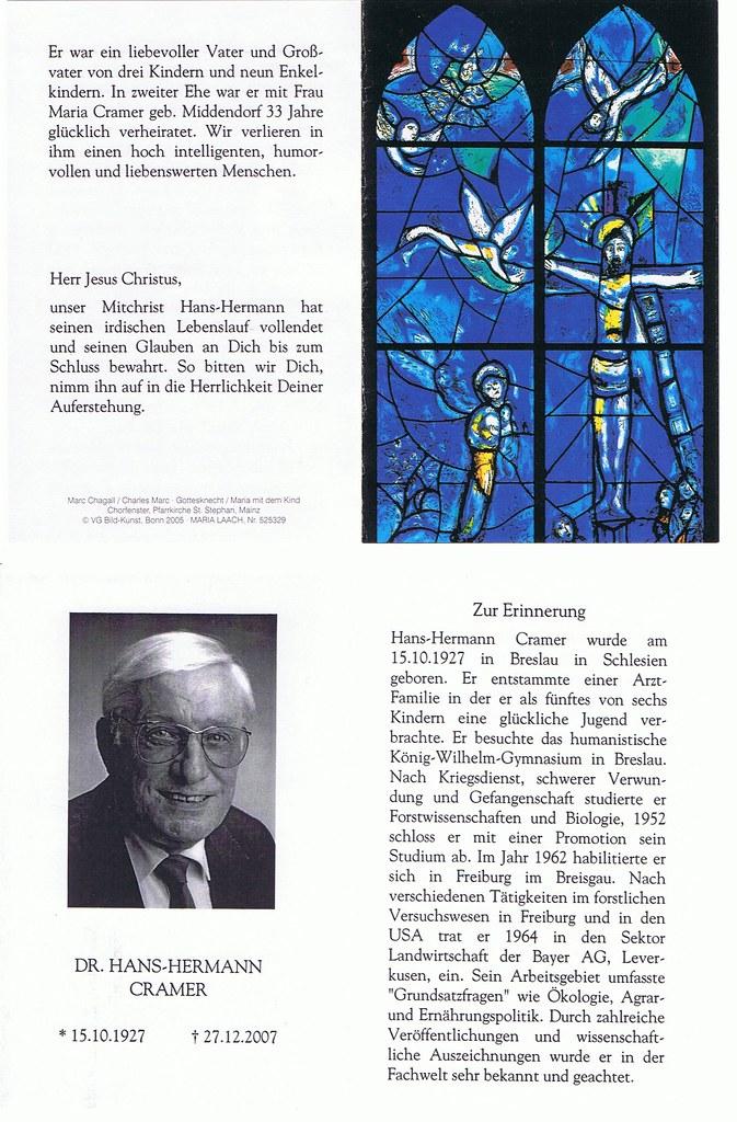 Totenzettel Cramer, Hans Herrmann † 27.12.2007