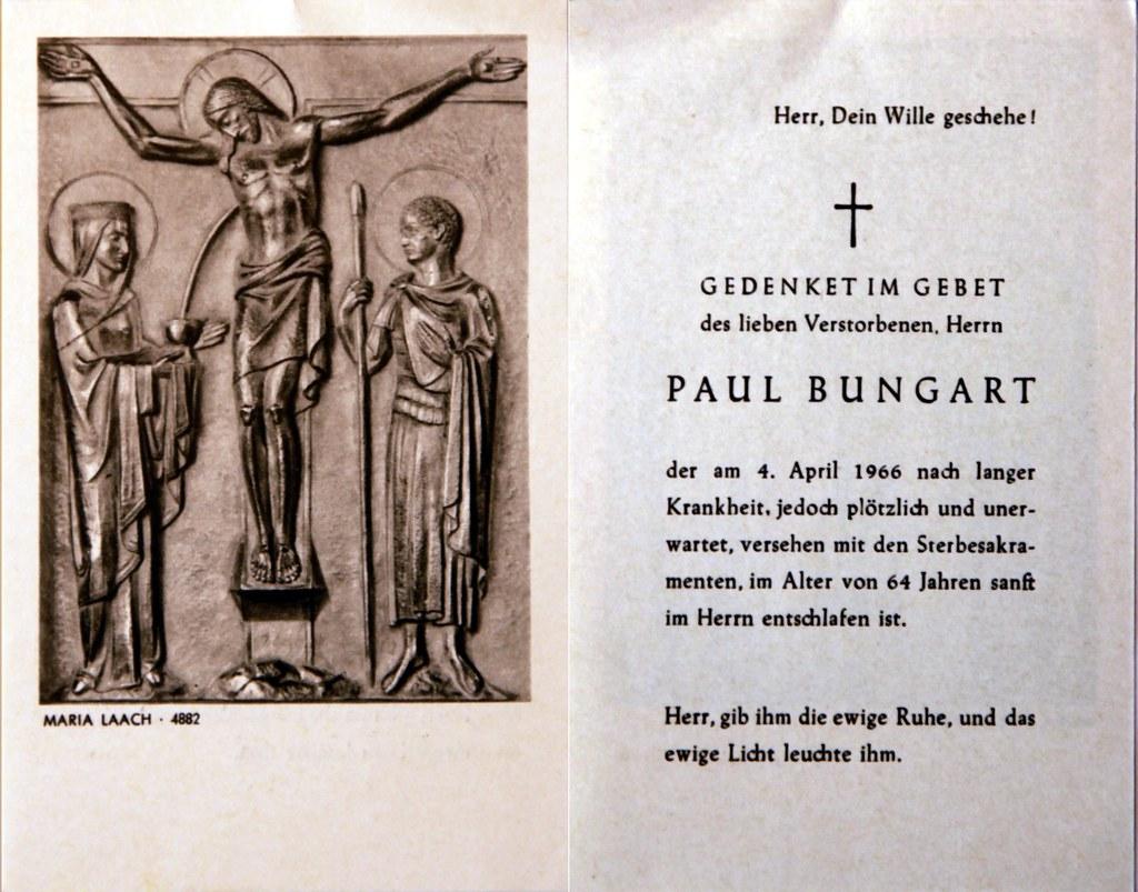 Totenzettel Bungart, Paul † 04.04.1966