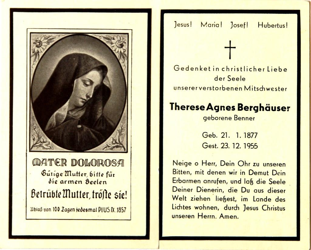 Totenzettel Berghaeuser, Therese Agnes † 23.12.1955