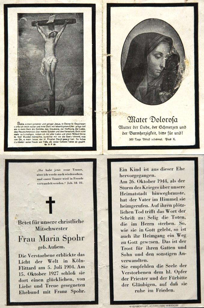 Totenzettel Spohr, Maria † 27.10.1944