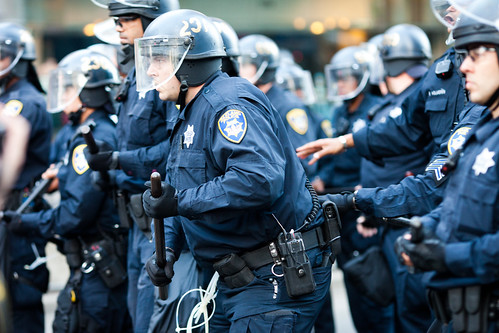 Oakland PD Officers Move Forward Against a Crowd of Protesters, Oakland Riots, 2010 | by Thomas Hawk