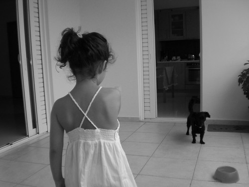 Little girl facing dog | by MaroT