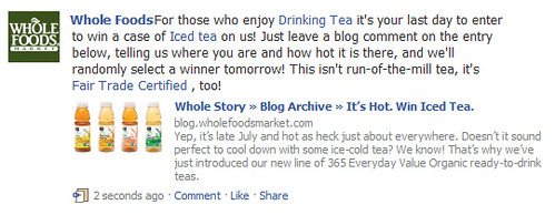 Iced Tea Facebook Status Update by Whole Foods. | by Si1very