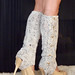 Oatmeal Crochet Leg Warmers with Stirrups by Mademoiselle Mermaid