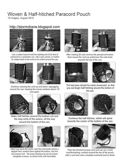 Woven and half hitched paracord pouch instruction sheet for How to make a paracord utility pouch