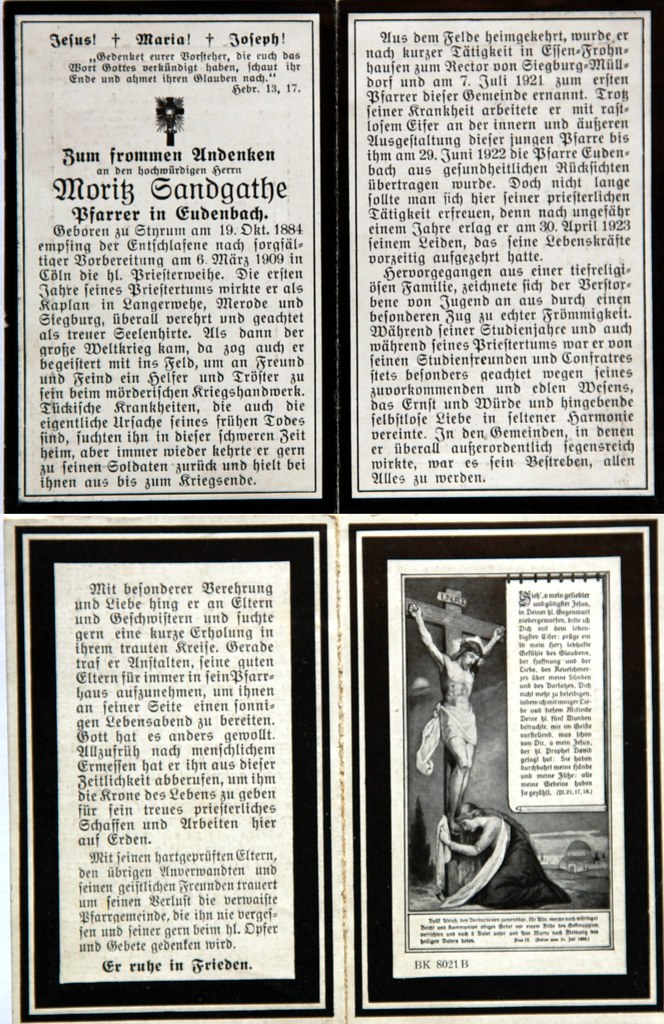 Totenzettel Sandgathe, Moritz - Pfarrer † 30.04.1923