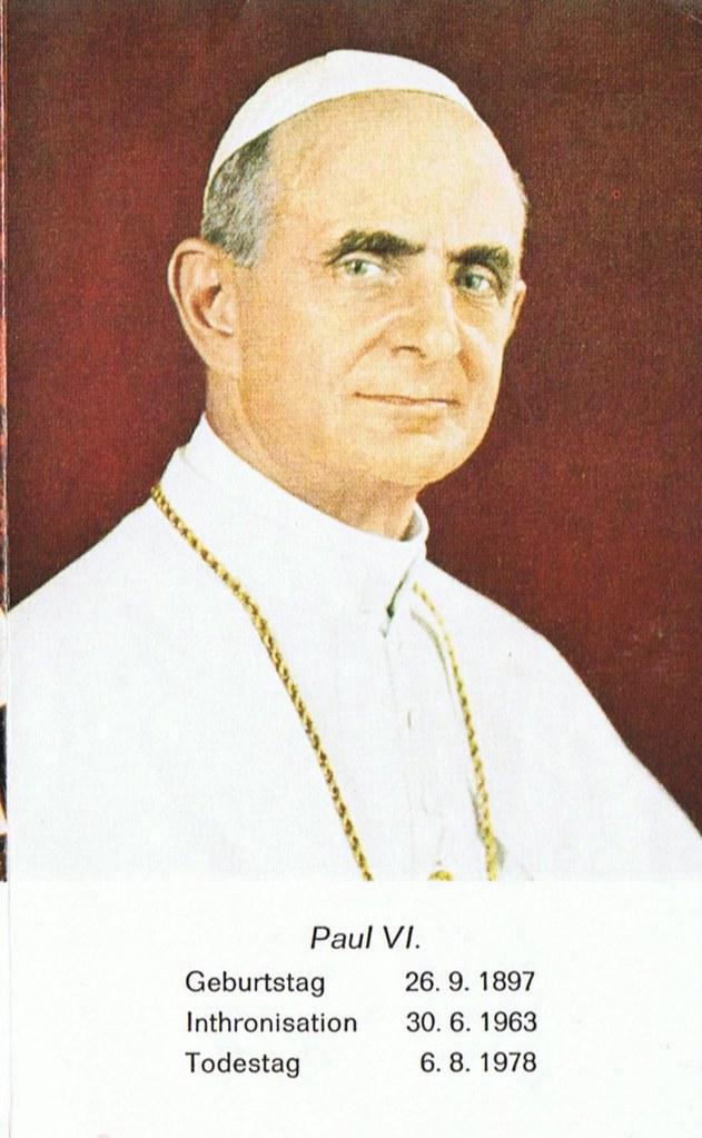 Totenzettel Papst Paul VI † 06.08.1978