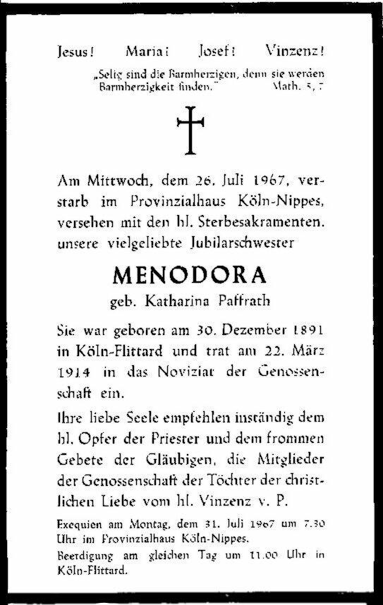 Totenzettel Paffrath, Katharina - Schwester Menodora † 26.07.1967