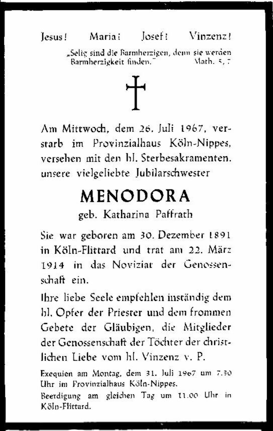Totenzettel Paffrath, Katharina † 26.07.1967