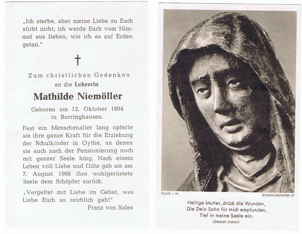 Totenzettel Niemöller, Mathilde † 07.08.1966