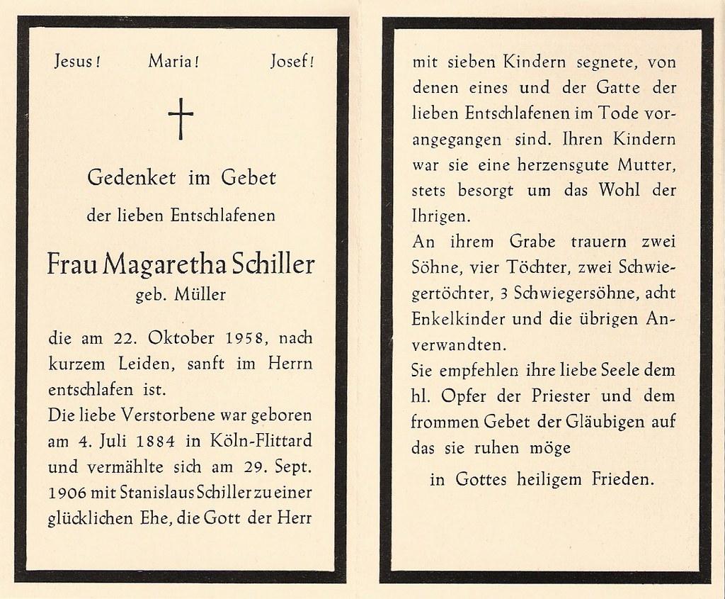 Totenzettel Müller, Margarethe † 22.10.1958