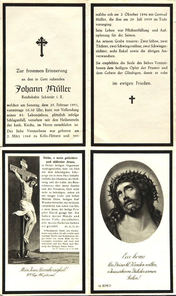 Totenzettel Müller, Johann † 25.02.1951