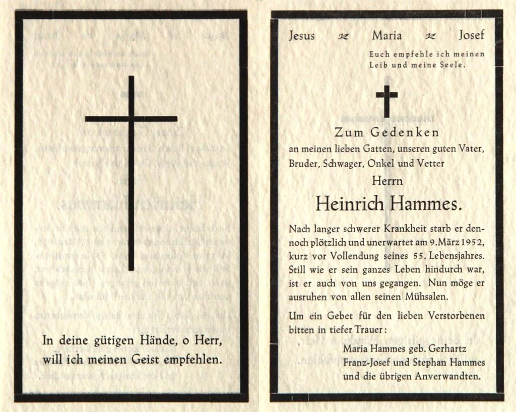 Totenzettel Hammes, Heinrich † 09.03.1952
