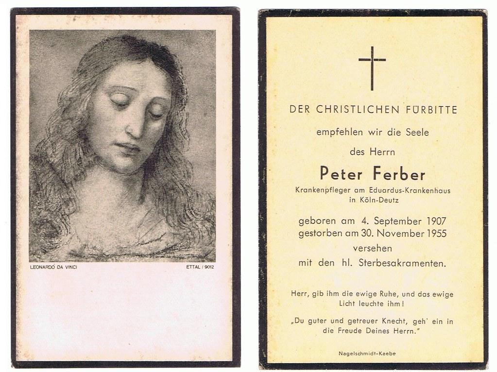 Totenzettel Ferber, Peter † 30.11.1955