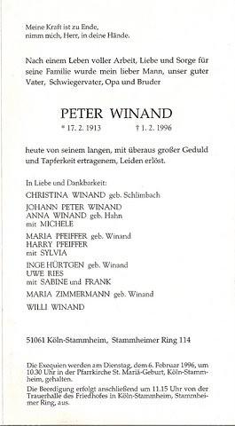 Totenzettel Winand, Peter † 01.02.1996