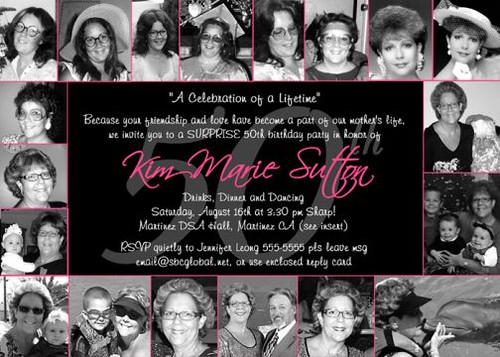 ladies women u0026 39 s 50th birthday invitation photo collage card