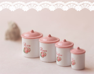 pink kitchen canister set dollhouse miniature 1 12 scale 4 pink kitchen cani 21281