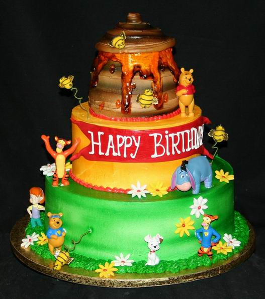 3Tier Winnie the Pooh Birthday Cake This threetier birth Flickr