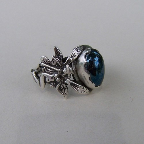 Queen Mab's starlight Fairies ring  Covellite cabochon  in sterling silver | by leespicedragon