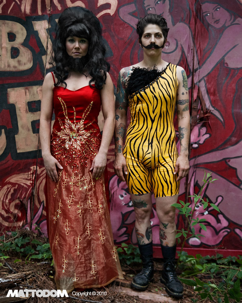 BEARDED LADY AND STRONG MAN IN CARNY STYLE AMERICAN GOTHIC