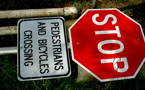 Stop Sign Bicycle Crossing Sign Grass PVC | by cdsessums