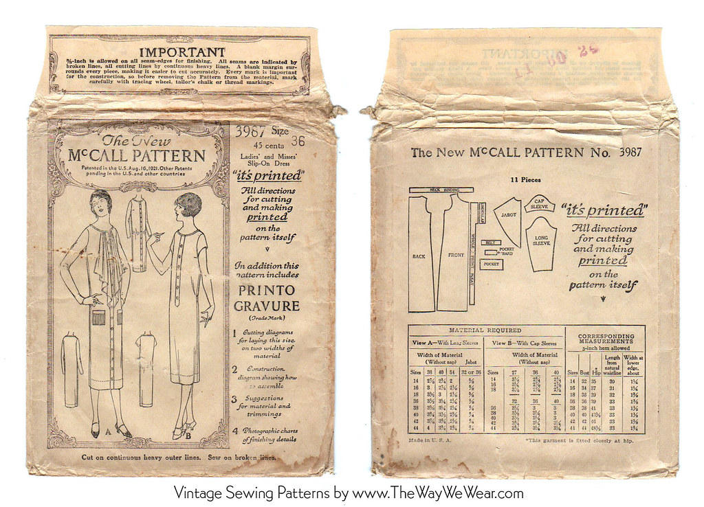 mccall pattern 3967 1920 s vintage sewing pattern flickr