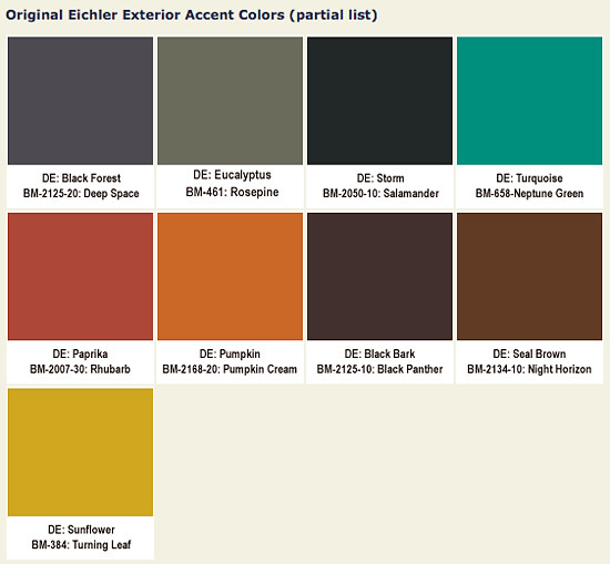 Original eichler colors blogged at mid century living - Modern home color palette ...
