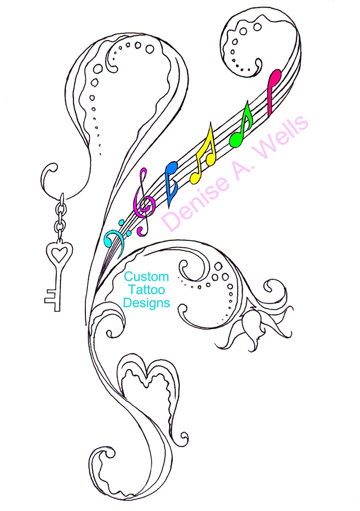 heartkey tattoo design by denise a wells more of my art flickr. Black Bedroom Furniture Sets. Home Design Ideas
