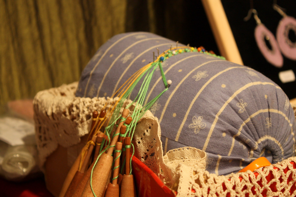 Bobbin Lace Making Pillows Bobbin Lace on Roller Pillow Flickr Photo Sharing