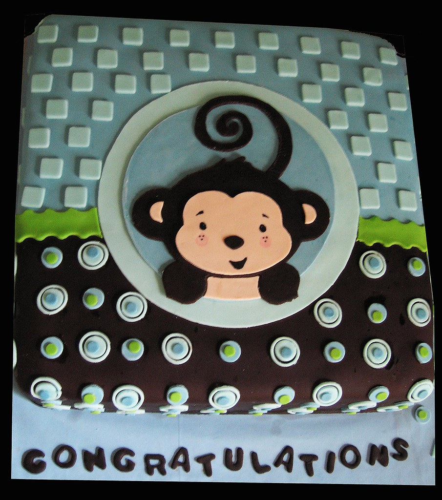 Monkey boy cake this is a baby shower cake monkey boy the flickr - Baby shower monkey theme cakes ...