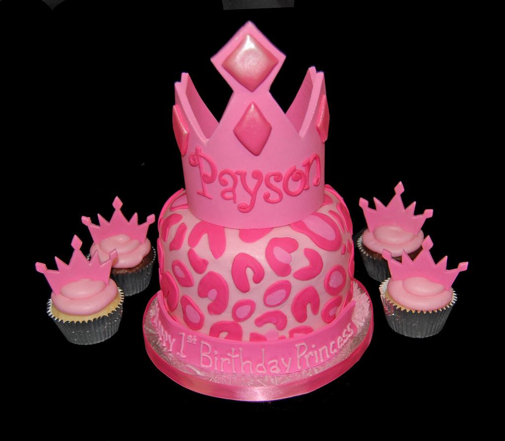 Pink Cheetah Print Princess Tiara First Birthday Cupcake T
