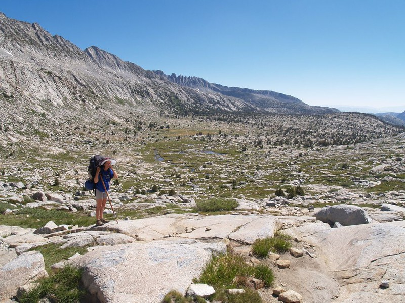 Looking back east and south from the PCT below Donohue Pass