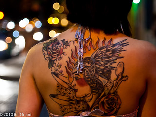 girl with large back tattoo | by Bill Oriani