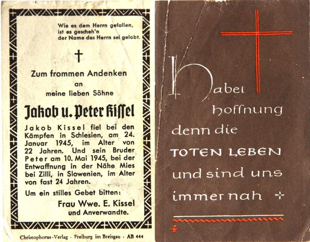 Totenzettel Kissel, Peter † 10.05.1945