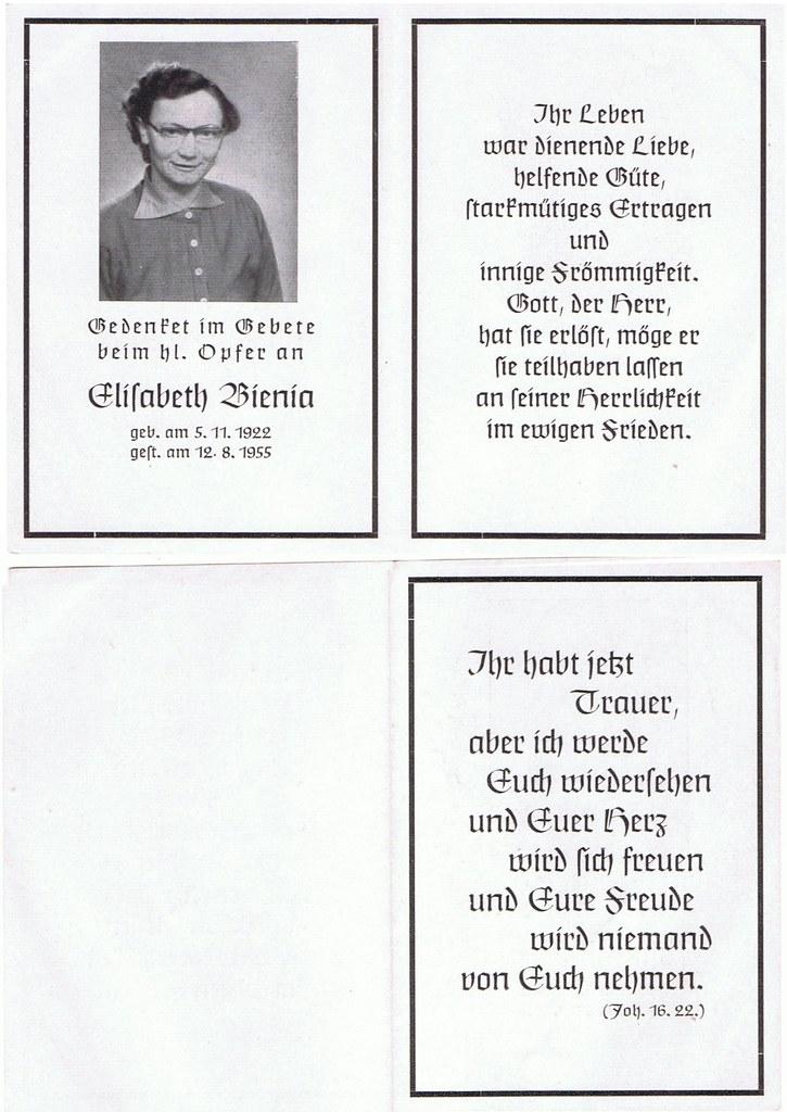 Totenzettel Bienia, Elisabeth † 12.08.1955