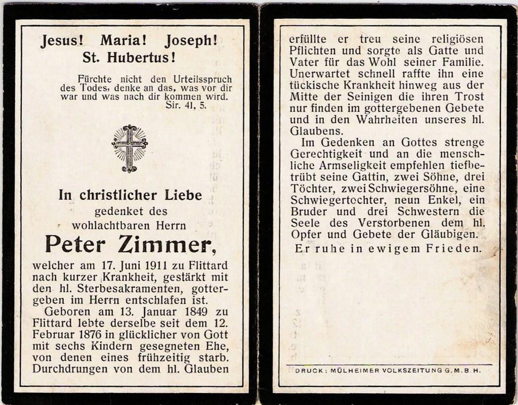 Totenzettel Zimmer, Peter † 17.06.1911