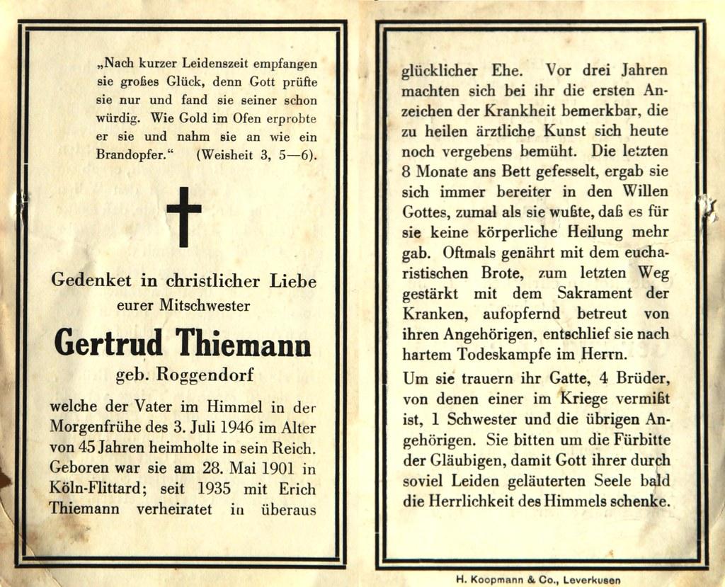 Totenzettel Thiemann, Gertrud † 03.07.1946